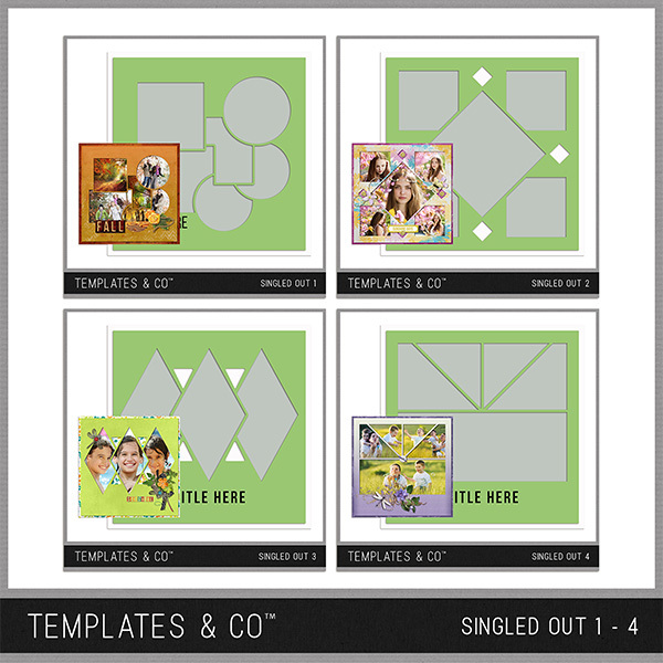 Singled Out 1- 4 Bundle Digital Art - Digital Scrapbooking Kits