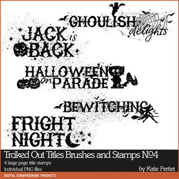 Tricked Out Titles No. 04 Brushes And Stamps Digital Art - Digital Scrapbooking Kits