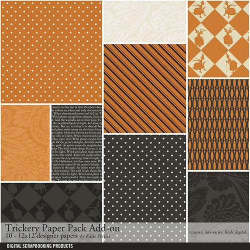 Trickery Add-on Paper Pack Digital Art - Digital Scrapbooking Kits