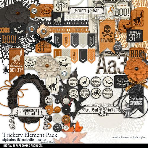 Trickery Element Pack Digital Art - Digital Scrapbooking Kits