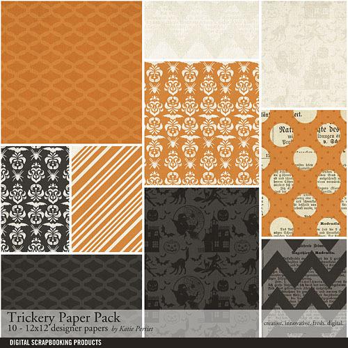Trickery Paper Pack Digital Art - Digital Scrapbooking Kits