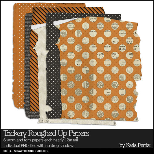 Trickery Roughed Up Paper Pack Digital Art - Digital Scrapbooking Kits