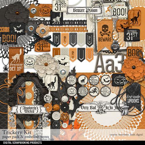 Trickery Scrapbook Kit Digital Art - Digital Scrapbooking Kits