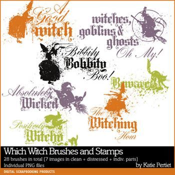 Which Witch Brushes And Stamps Digital Art - Digital Scrapbooking Kits