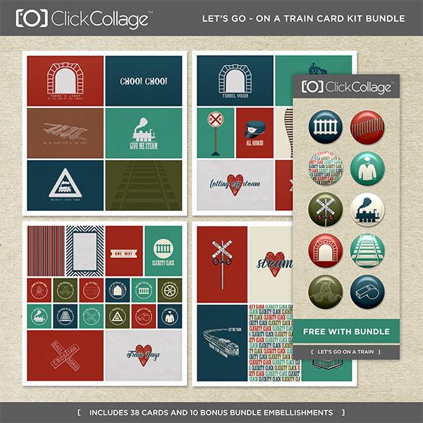 Let's Go On A Train Card Kit Bundle Digital Art - Digital Scrapbooking Kits