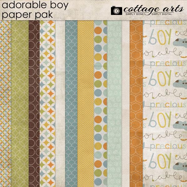 Adorable Boy Paper Pak Digital Art - Digital Scrapbooking Kits