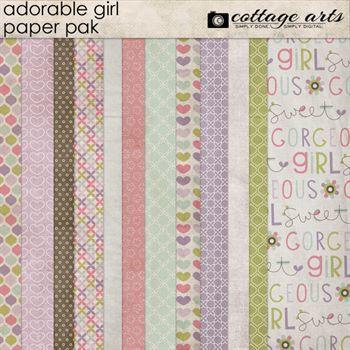 Adorable Girl Paper Pak Digital Art - Digital Scrapbooking Kits