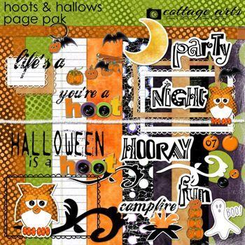 Hoots & Hallows Page Pak Digital Art - Digital Scrapbooking Kits