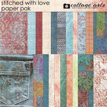Stitched With Love Paper Pak Digital Art - Digital Scrapbooking Kits
