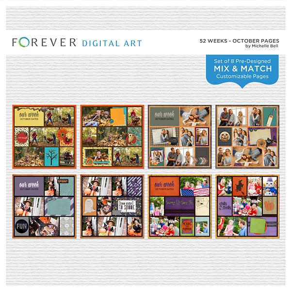 52 Weeks - October Pages Digital Art - Digital Scrapbooking Kits