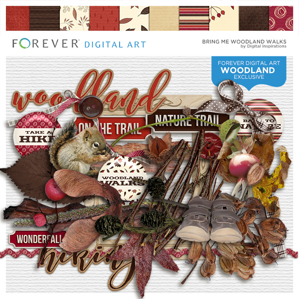 Bring Me Woodland Walks Digital Art - Digital Scrapbooking Kits