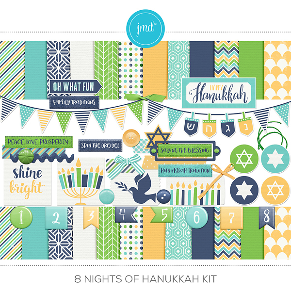 8 Nights Of Hanukkah Kit Digital Art - Digital Scrapbooking Kits