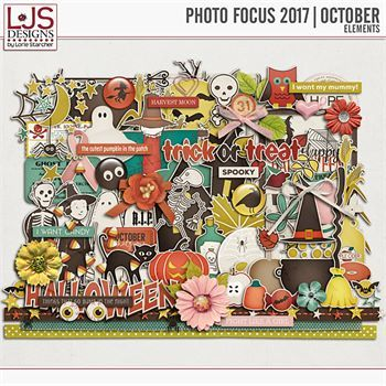 Photo Focus 2017 - October Elements Digital Art - Digital Scrapbooking Kits