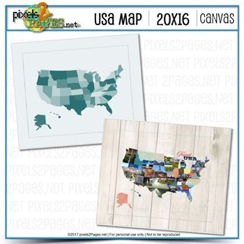 20x16 USA Map Canvas Digital Art - Digital Scrapbooking Kits