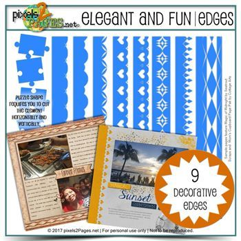 Elegant And Fun Edges Digital Art - Digital Scrapbooking Kits