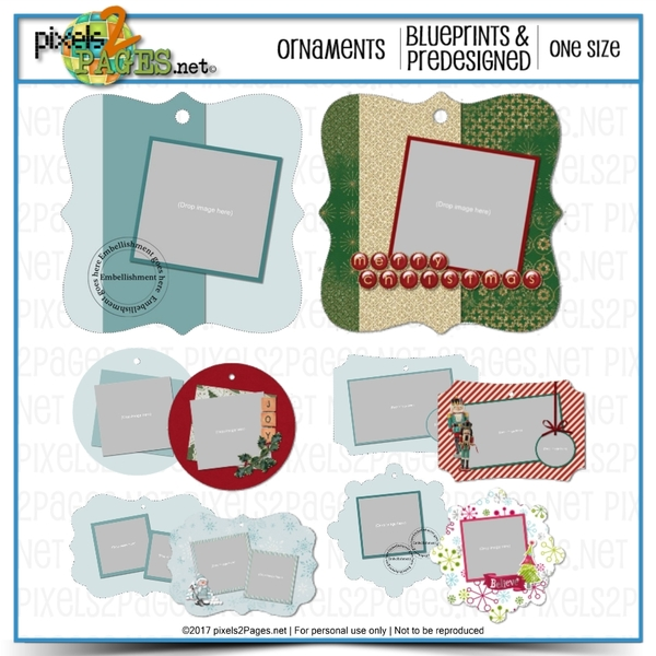 Ornament Blueprints And Predesigned Templates Digital Art - Digital Scrapbooking Kits
