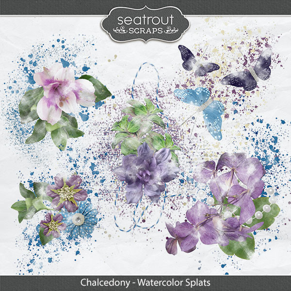Chalcedony Watercolor Splats