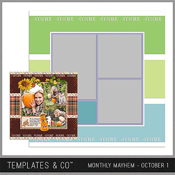 Monthly Mayhem October 1 Digital Art - Digital Scrapbooking Kits