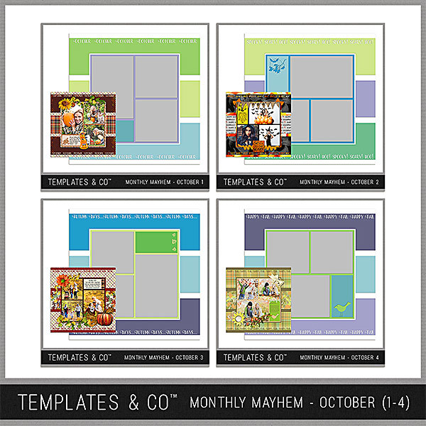 Monthly Mayhem October Bundle - Templates 1 - 4 Digital Art - Digital Scrapbooking Kits