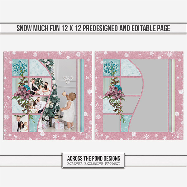 Snow Much Fun 12 X 12 Predesigned And Editable Page Digital Art - Digital Scrapbooking Kits