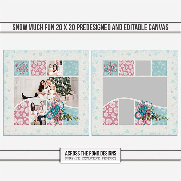 Snow Much Fun 20 X 20 Predesigned And Editable Canvas Digital Art - Digital Scrapbooking Kits