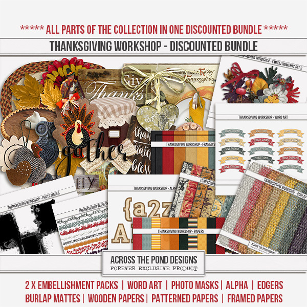 Thanksgiving Workshop - Discounted Bundle Digital Art - Digital Scrapbooking Kits