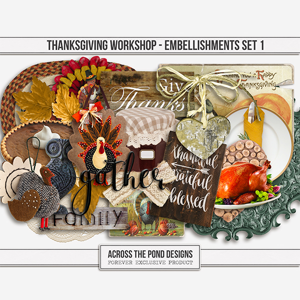 Thanksgiving Workshop - Element Set 1 Digital Art - Digital Scrapbooking Kits
