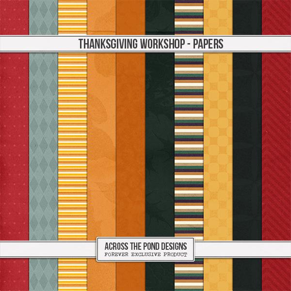 Thanksgiving Workshop - Patterned Papers Digital Art - Digital Scrapbooking Kits