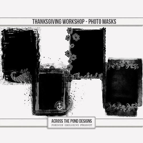 Thanksgiving Workshop - Photo Masks Digital Art - Digital Scrapbooking Kits