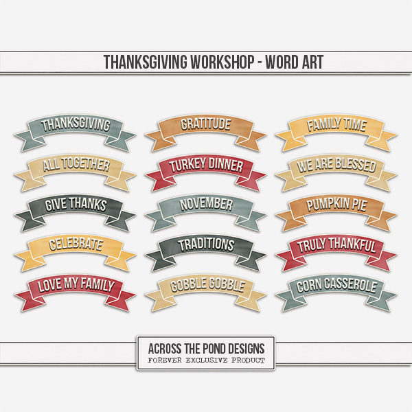 Thanksgiving Workshop - Word Art Digital Art - Digital Scrapbooking Kits