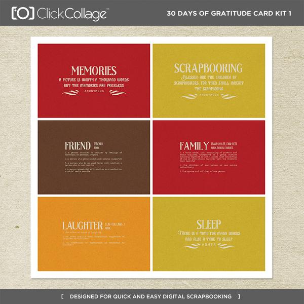 30 Days Of Gratitude Card Kit 1 Digital Art - Digital Scrapbooking Kits