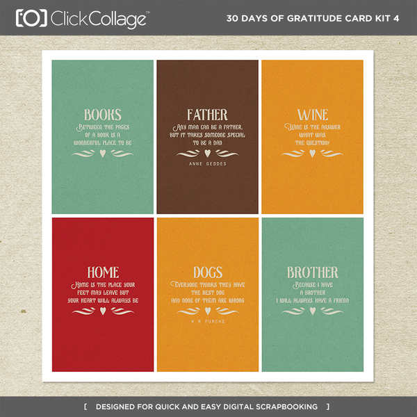 30 Days Of Gratitude Card Kit 4 Digital Art - Digital Scrapbooking Kits