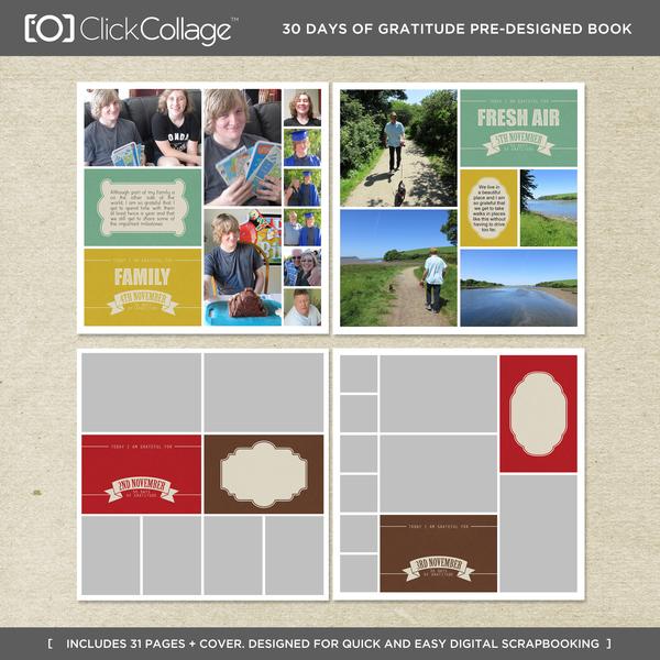 30 Days Of Gratitude Pre-designed Book Digital Art - Digital Scrapbooking Kits