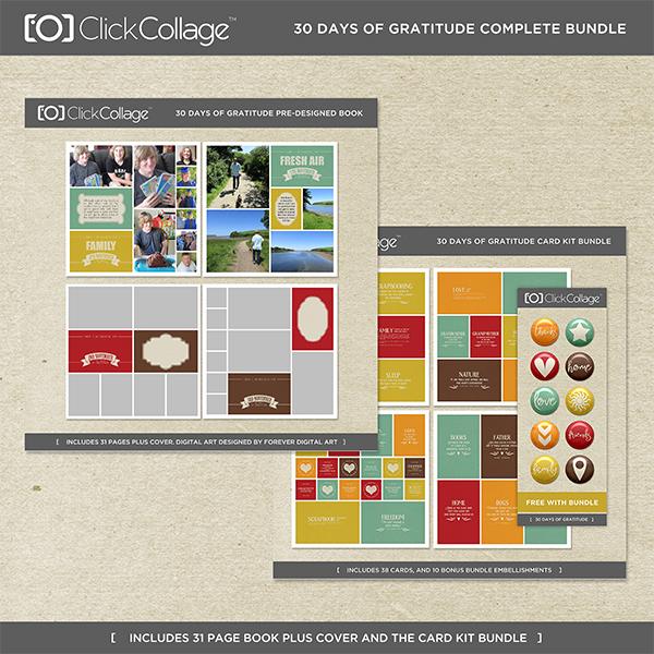 30 Days Of Gratitude Pre-designed Book And Card Kit Bundle Digital Art - Digital Scrapbooking Kits