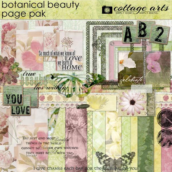 Botanical Beauty Page Pak Digital Art - Digital Scrapbooking Kits