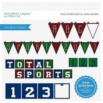 Total Sports Digital Alpha Shapes Digital Art - Digital Scrapbooking Kits
