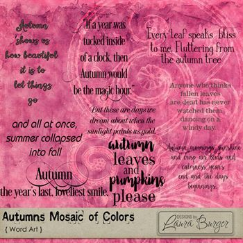 Autumn Mosaic Of Colors Word Art Digital Art - Digital Scrapbooking Kits