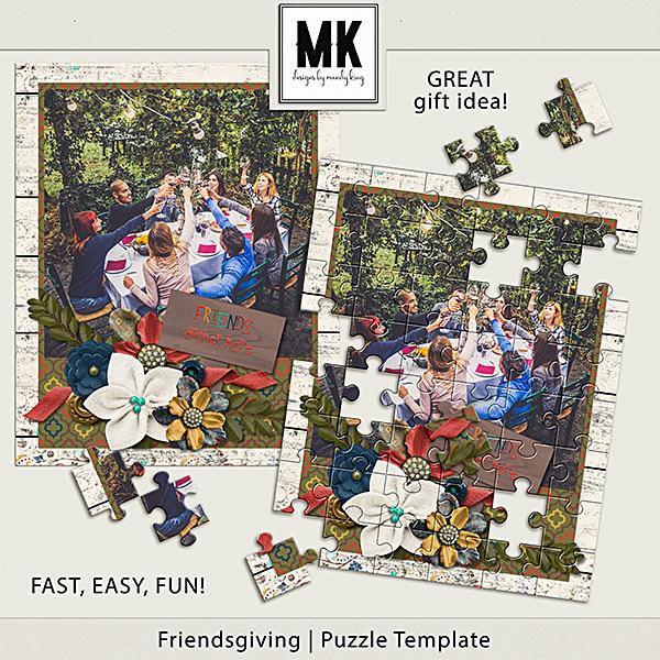 Friendsgiving - Puzzle Template Digital Art - Digital Scrapbooking Kits