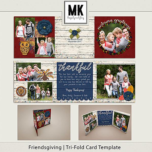 Friendsgiving - Tri-fold Card Template Digital Art - Digital Scrapbooking Kits