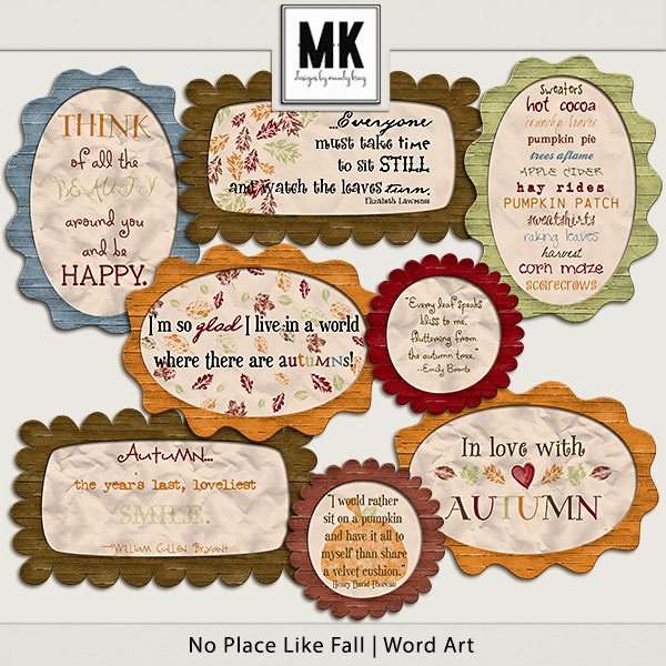 There's No Place Like Fall - Word Art Digital Art - Digital Scrapbooking Kits
