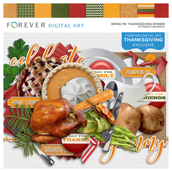 Bring Me Thanksgiving Dinner Digital Art - Digital Scrapbooking Kits