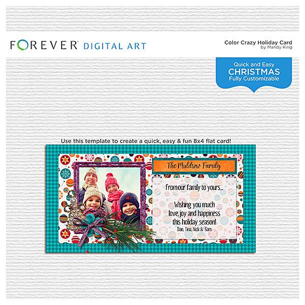 Color Crazy 4x8 Holiday Card Digital Art - Digital Scrapbooking Kits