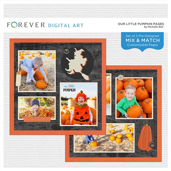 Our Little Pumpkin Pages Digital Art - Digital Scrapbooking Kits