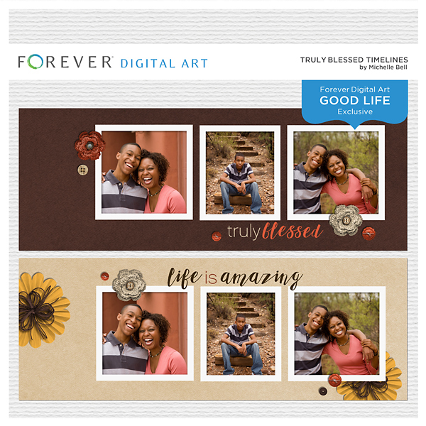 Truly Blessed Timelines Digital Art - Digital Scrapbooking Kits