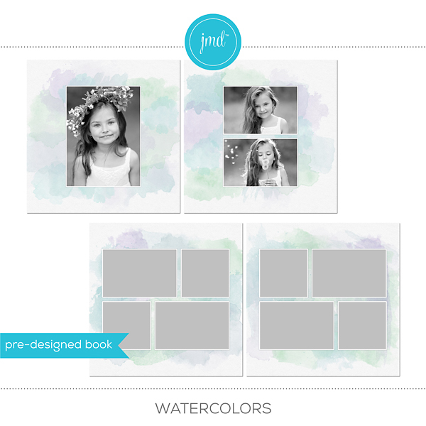 Watercolors Digital Art - Digital Scrapbooking Kits