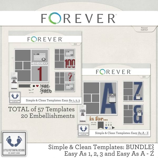 Clean And Simple Templates - Easy As A - Z And Easy As 1, 2, 3 Bundle Digital Art - Digital Scrapbooking Kits