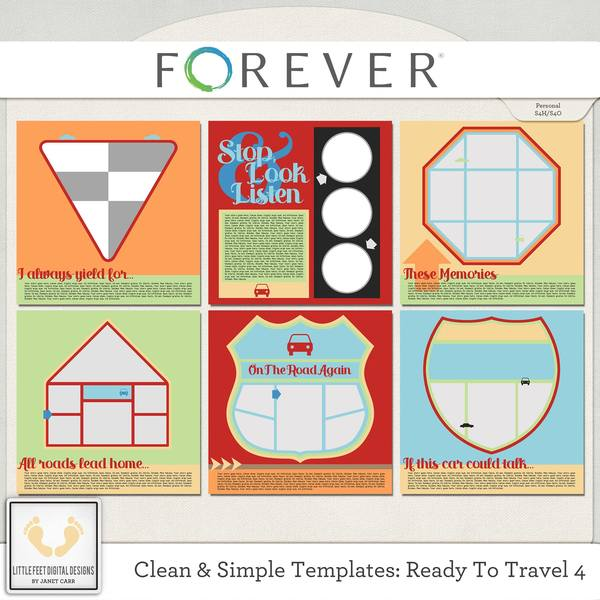 Clean And Simple Templates - Ready To Travel 4 Digital Art - Digital Scrapbooking Kits