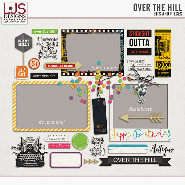 Over The Hill - Bits And Pieces Digital Art - Digital Scrapbooking Kits