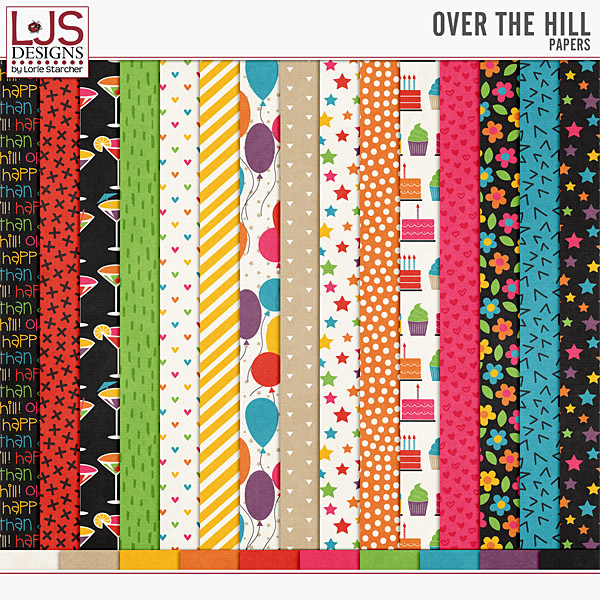 Over The Hill - Papers Digital Art - Digital Scrapbooking Kits