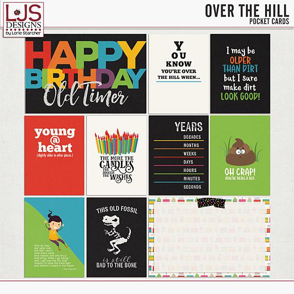 Over The Hill - Pocket Cards Digital Art - Digital Scrapbooking Kits